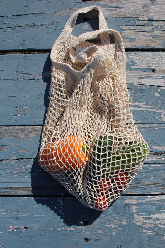 Natural Net Bag: Short Handle - Diamonds & Rust