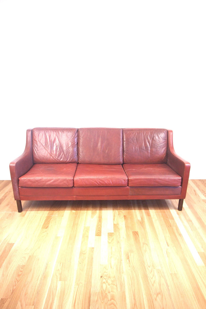 1960s Borgen Mogensen Style Leather Sofa