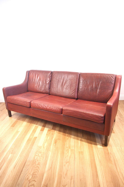 1960s Borgen Mogensen Style Leather Sofa - Diamonds & Rust