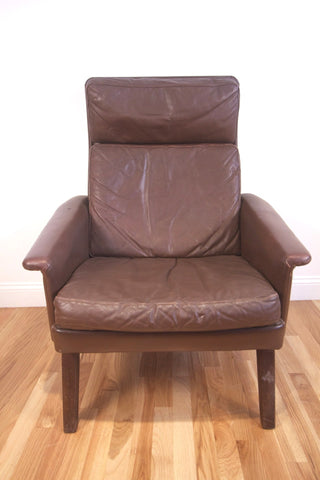 1960s Brown Leather High Back Chair
