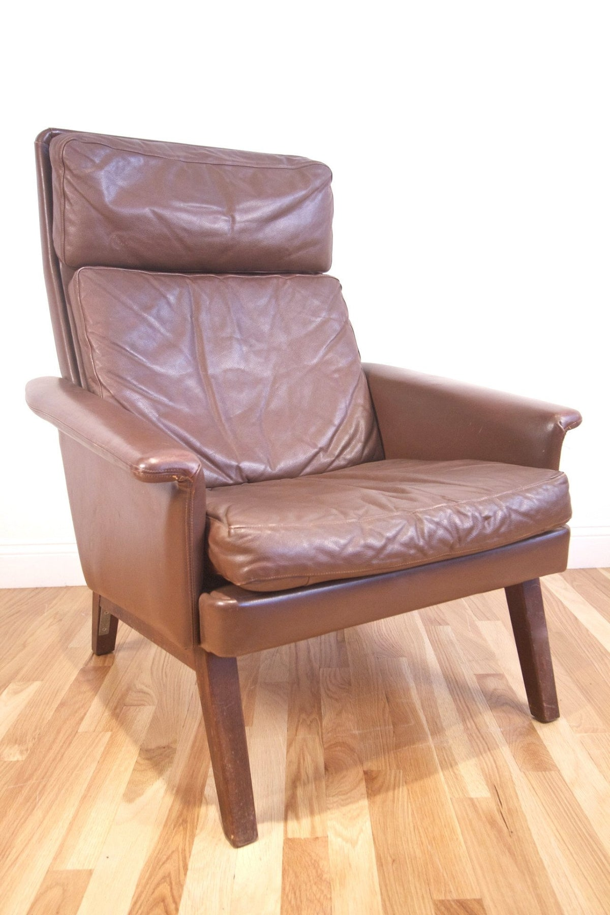 1960s Brown Leather High Back Chair - Diamonds & Rust