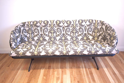 1970s Cage Frame Reupholstered Sofa - Diamonds & Rust