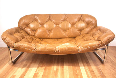 1970s Tufted Leather and Chrome Sofa - Diamonds & Rust