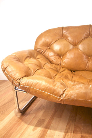 1970s Tufted Leather and Chrome Sofa