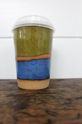 Carmiclay Ceramic To-Go Mug: Olive & Blue