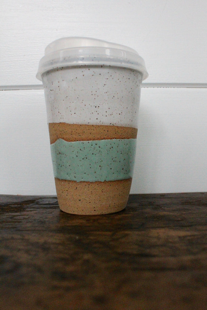 Ceramic To-Go Mug: White & Sea Foam