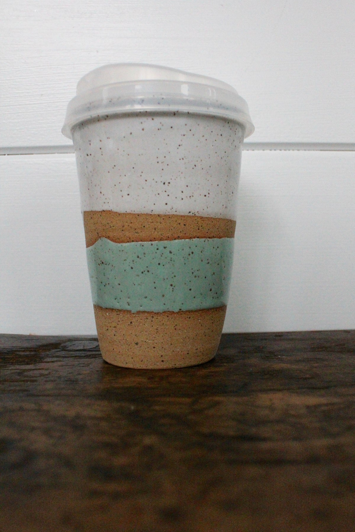 Ceramic To-Go Mug: White & Sea Foam - Diamonds & Rust
