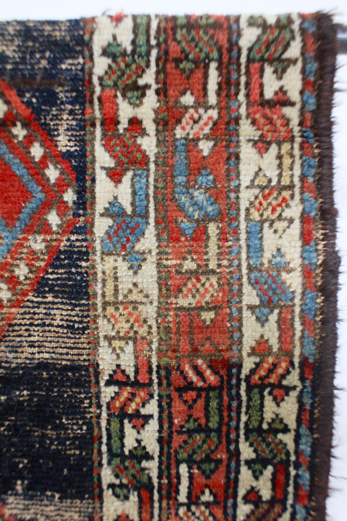 Vintage Rug - Navy & Red - Diamonds & Rust