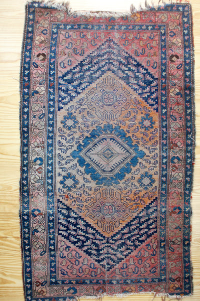 Vintage Rug: Pink & Orange - Diamonds & Rust