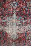 Vintage Rug: Faded Red & Blue - Diamonds & Rust