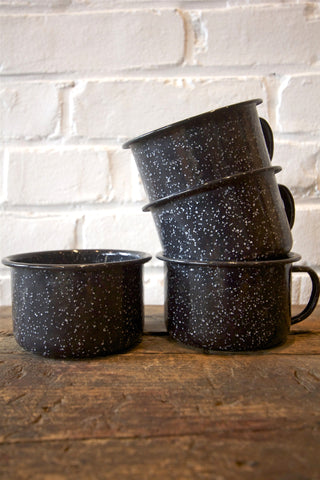 4 Black Enamel Mugs