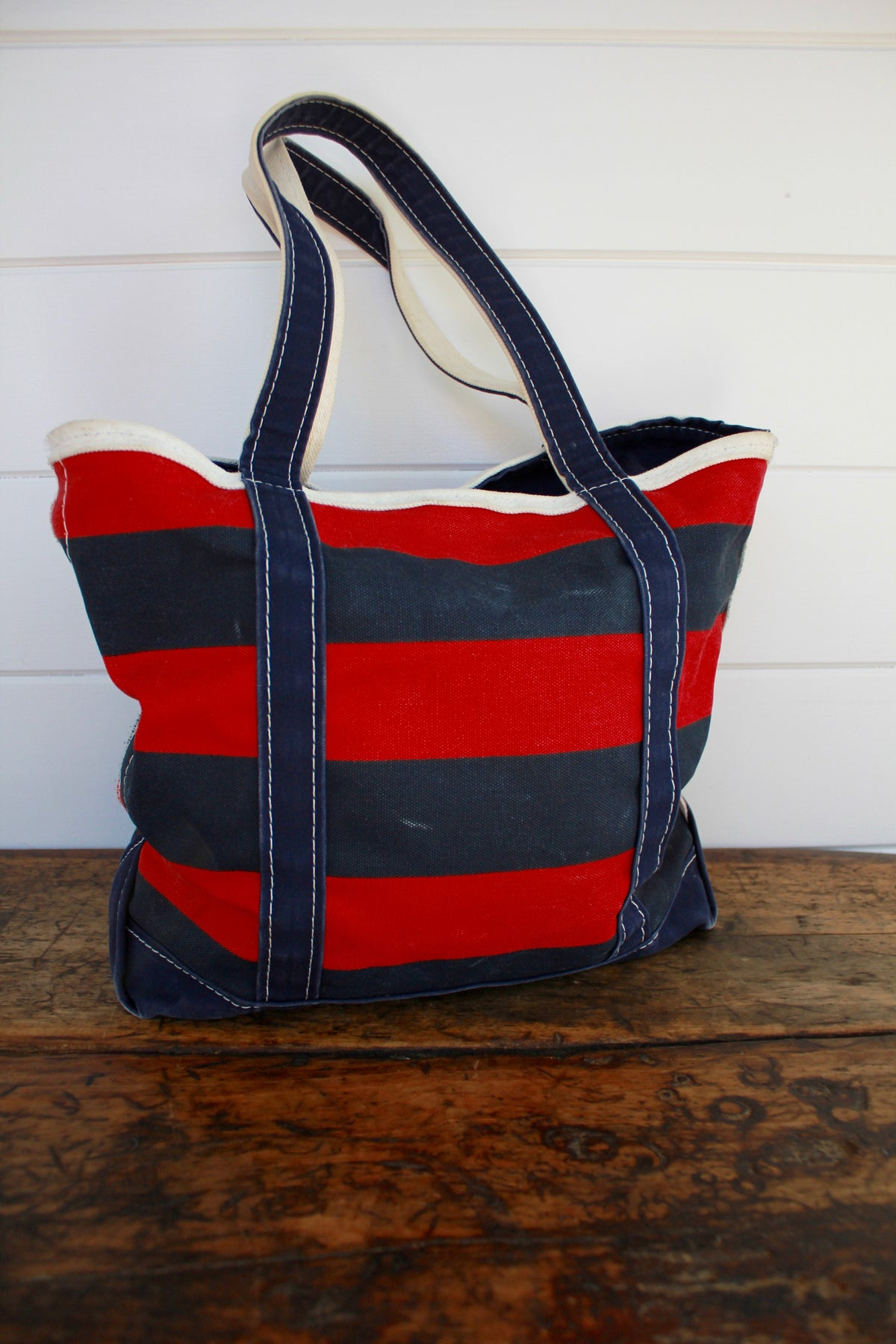 Vintage LL Bean Striped Tote - Diamonds & Rust
