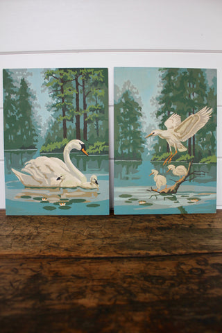 Vintage Swan Paintings (set of two, Paint by Numbers)