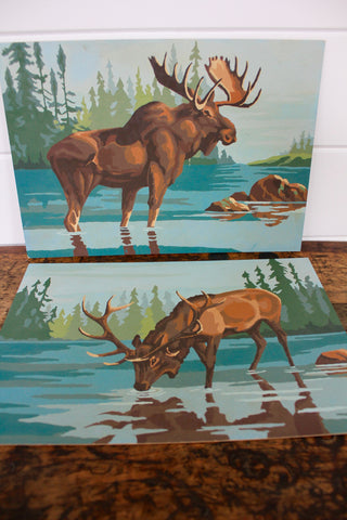 Vintage Moose Paintings (Set of two, Paint by Numbers)
