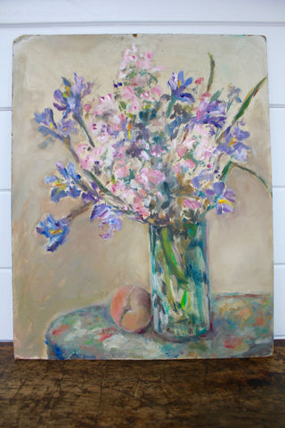 Vintage Iris & Cherry Blossoms Painting