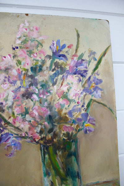 Vintage Iris & Cherry Blossoms Painting - Diamonds & Rust