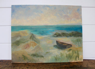 Vintage Sea Scape Painting - Diamonds & Rust