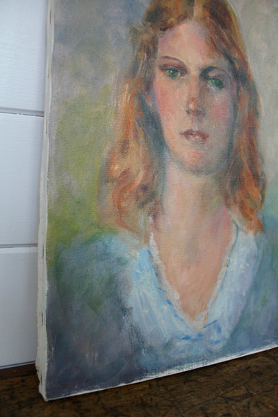 Vintage Portrait Painting - Diamonds & Rust