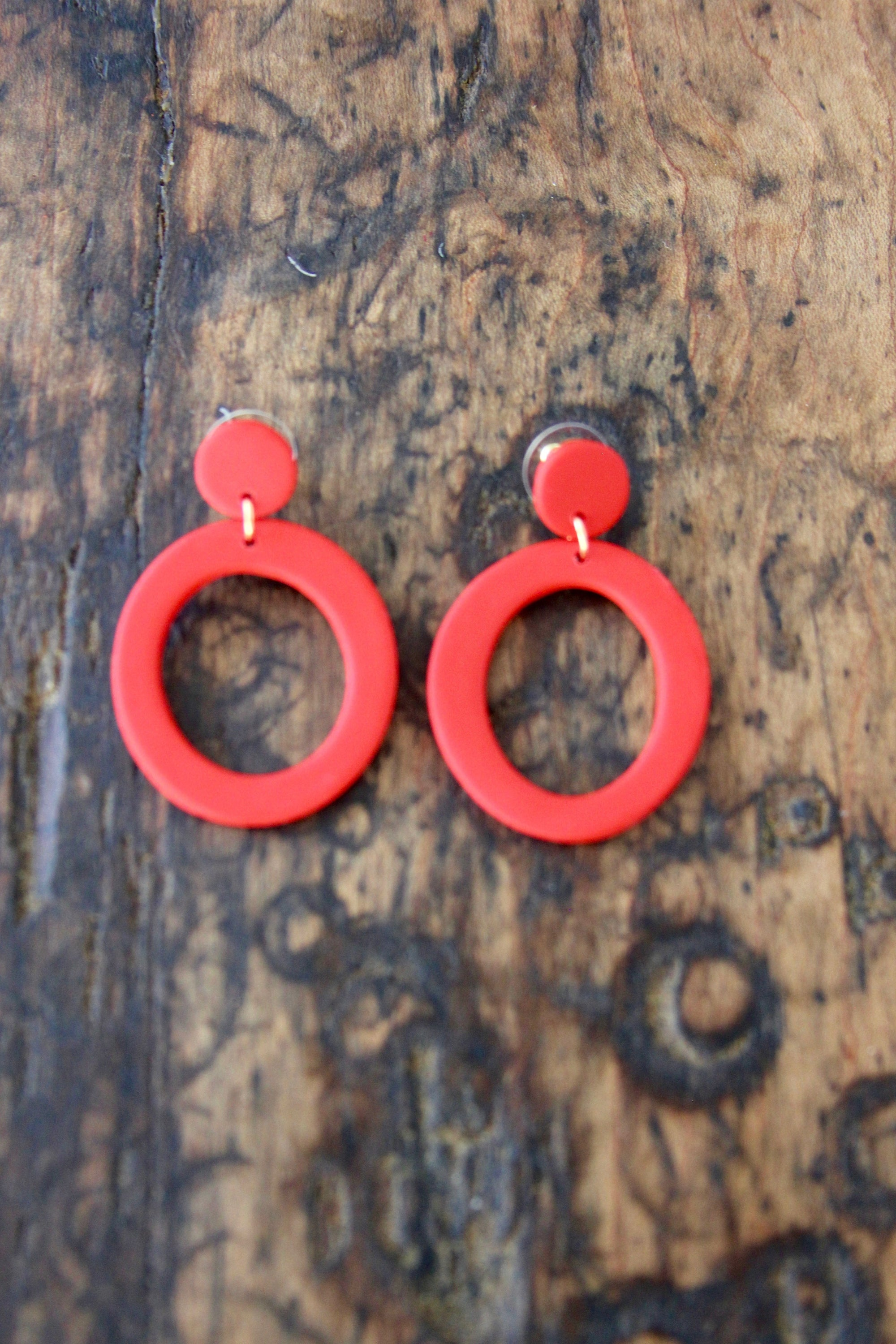 "Moona Custom ""Circle"" Earrings - Diamonds & Rust"