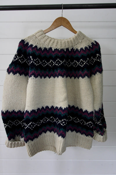 Vintage Hand Knit Sweater - Diamonds & Rust