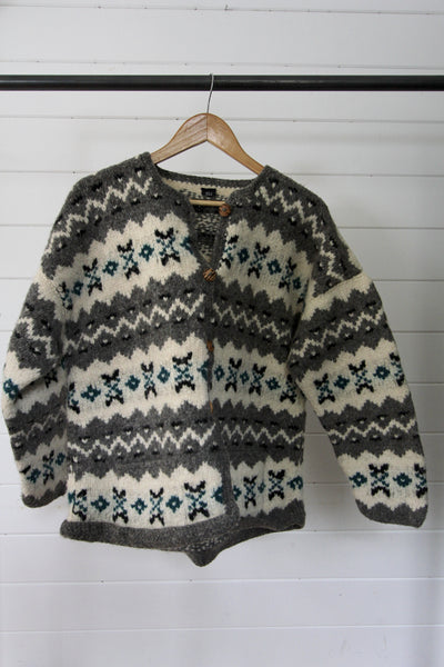 Vintage Cardigan Sweater - Diamonds & Rust