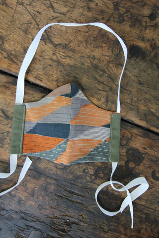 Army Green Face Mask - Geometric Print