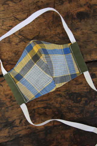 Army Green Face Mask - Plaid Print