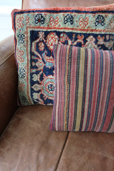 Vintage Striped Woven Pillow - Diamonds & Rust