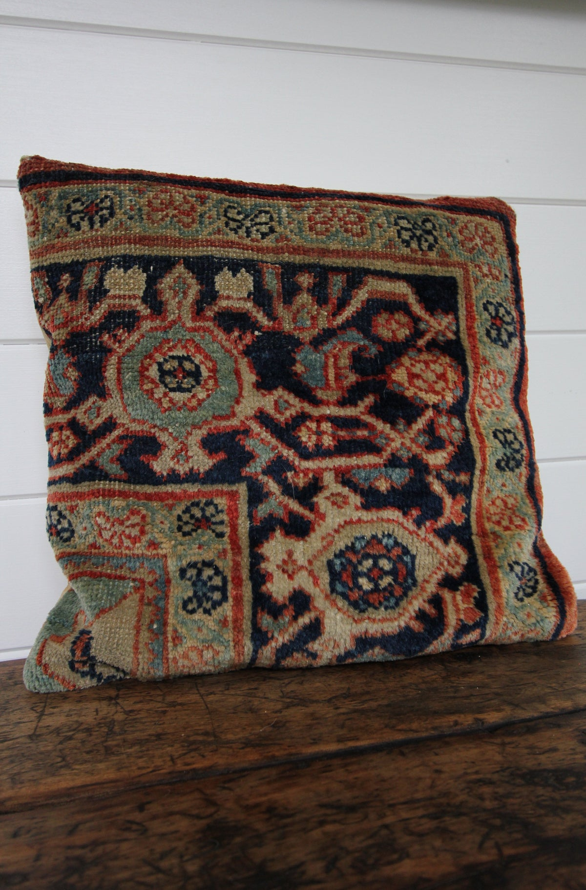 Vintage Rug Pillow - Diamonds & Rust