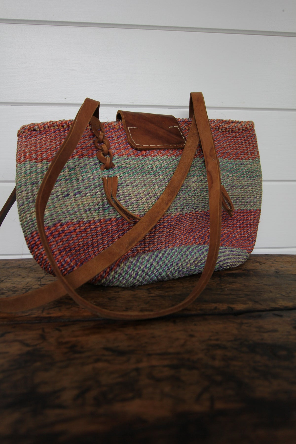 Vintage Woven Sisal Bag - Diamonds & Rust