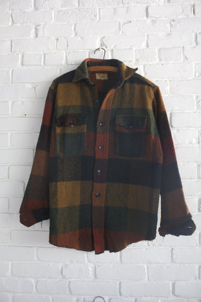Vintage Melton Flannel Shirt - Diamonds & Rust