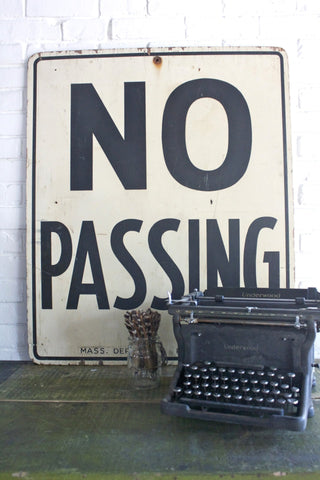 Vintage Wood No Passing Sign