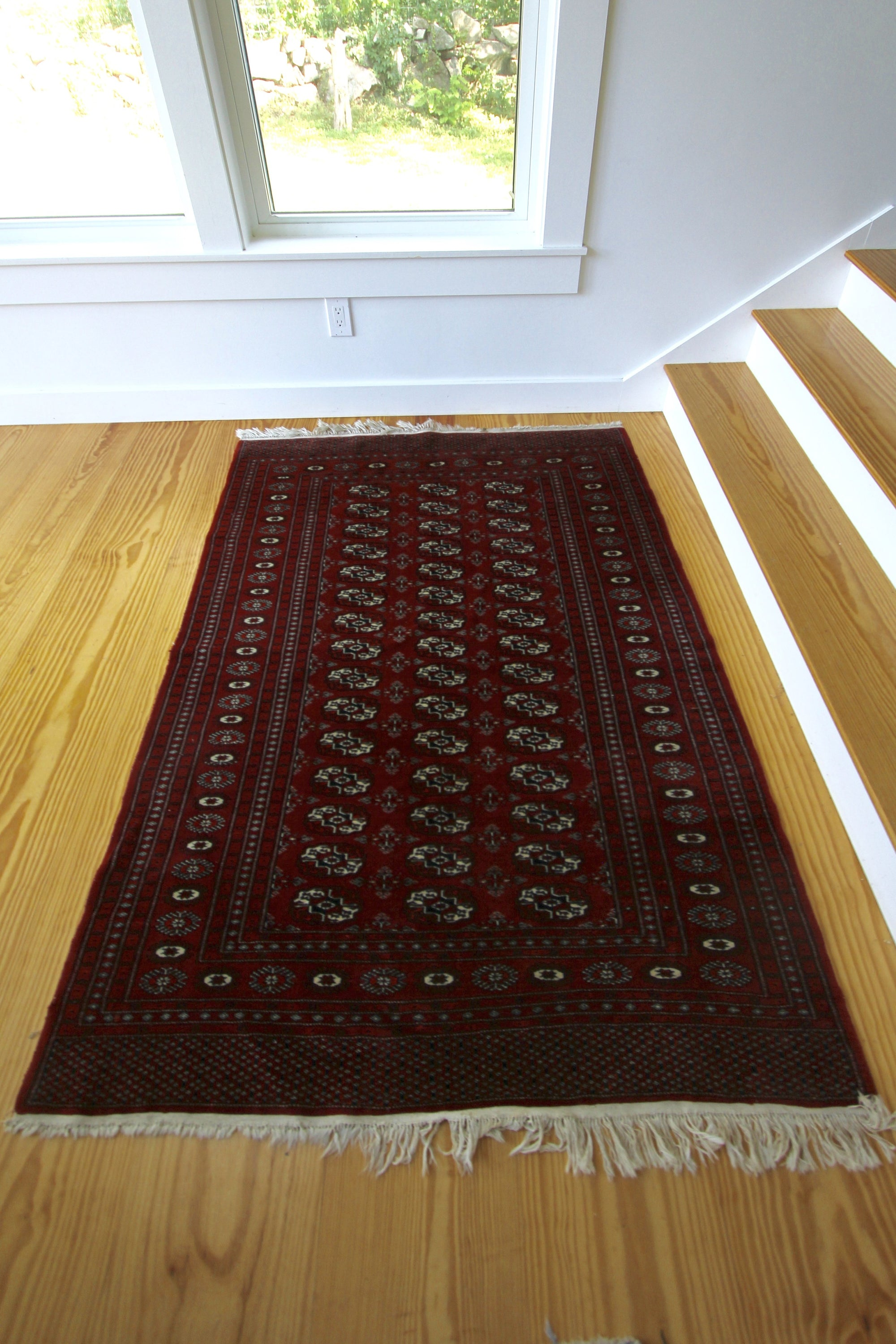 Hand Knotted Bokhara Area Rug - Diamonds & Rust