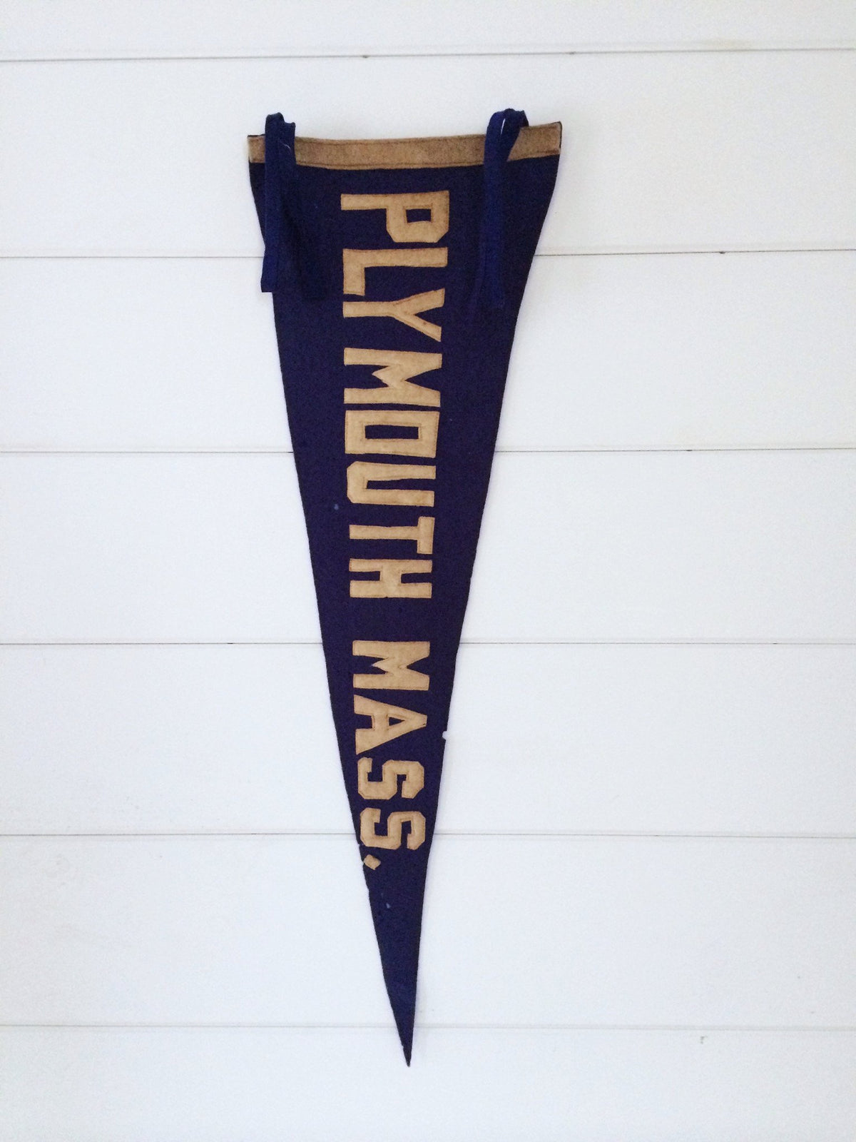 1920s Plymouth Mass Pennant - Diamonds & Rust