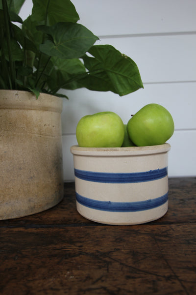 Vintage Blue Striped Stoneware Crock