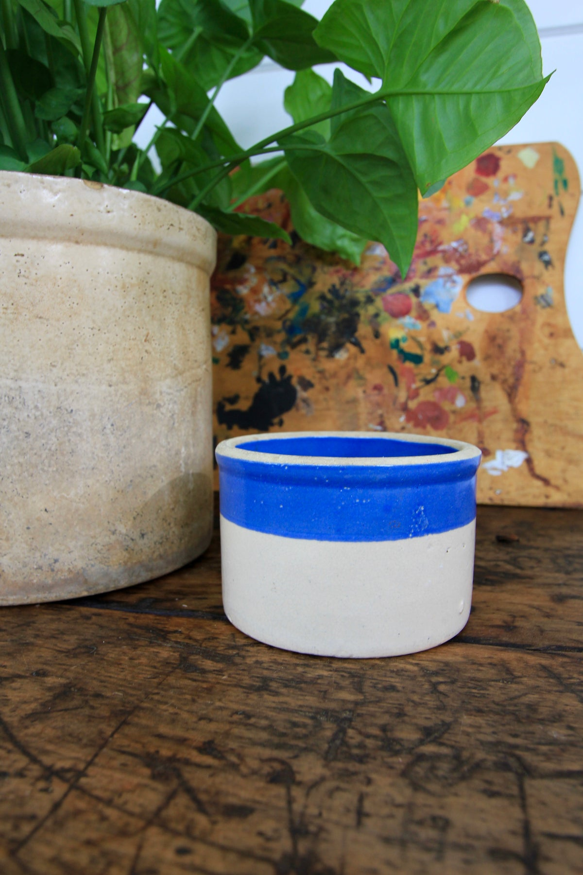 Vintage Blue Strip Stoneware Crock