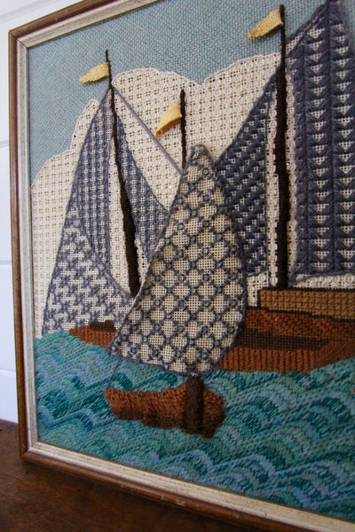 Framed Needle Point Sailboat Art