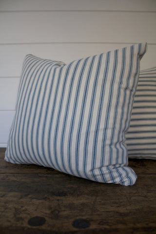D&R Salvaged Ticking & Canvas Pillow