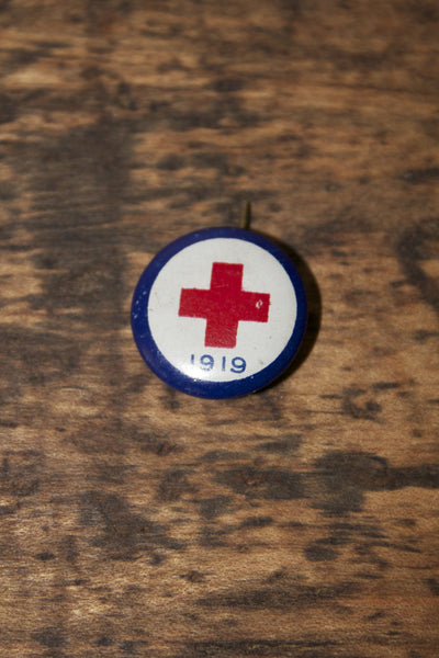 Antique Red Cross Pin - Diamonds & Rust