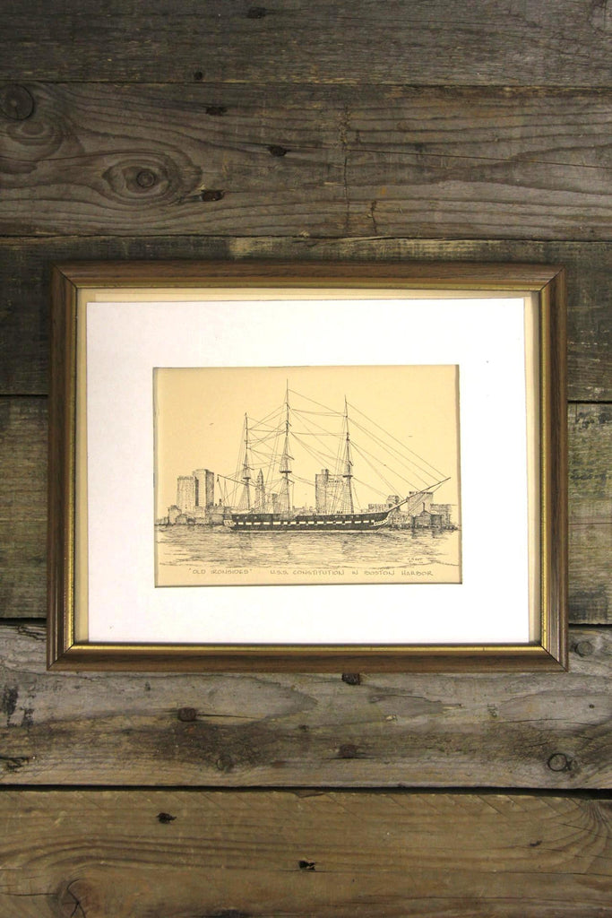 Old Ironsides Etching Framed Wall Art