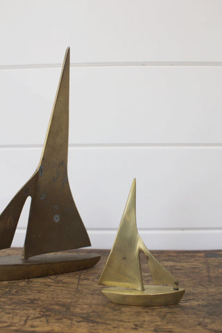 Small Solid Brass Sailboat