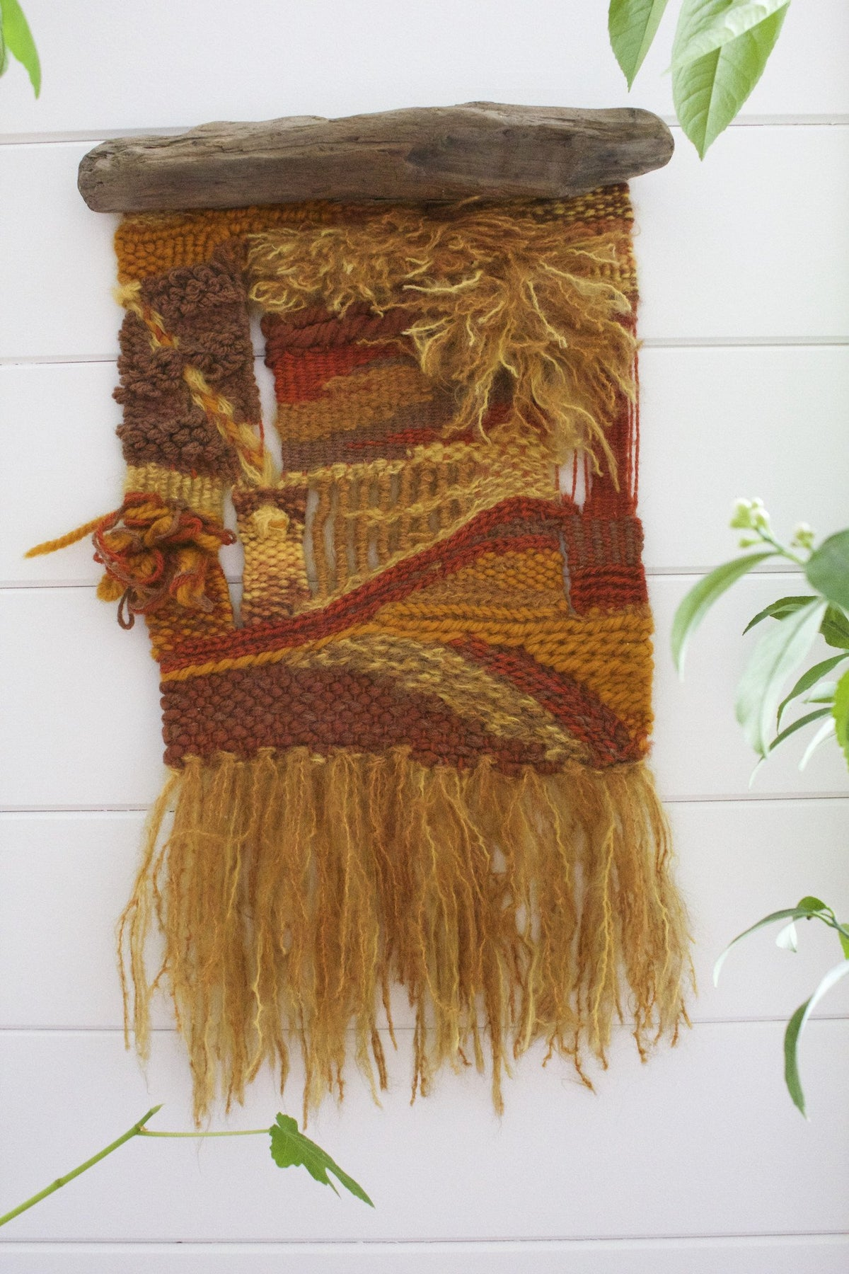 Vintage Woven Wall Hanging - Diamonds & Rust