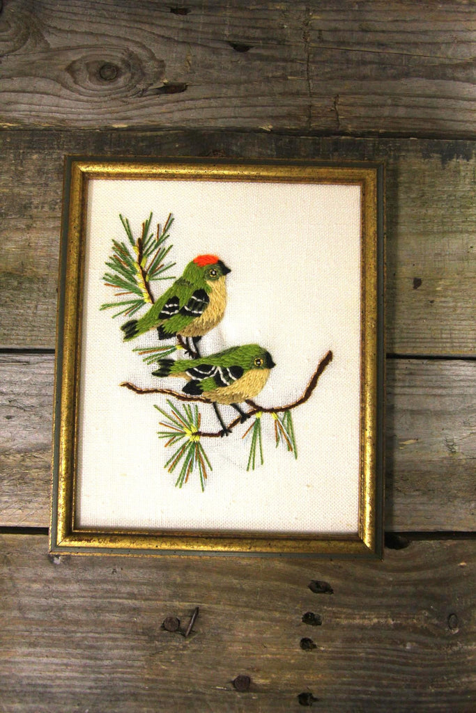 Green Birds Needlepoint Framed Art