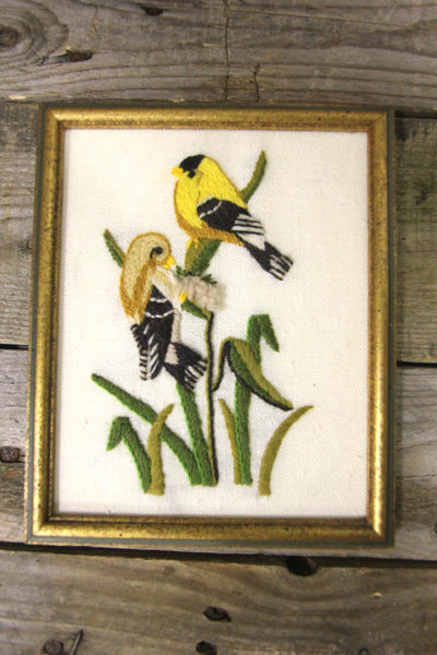 Yellow Birds Needlepoint Framed Art