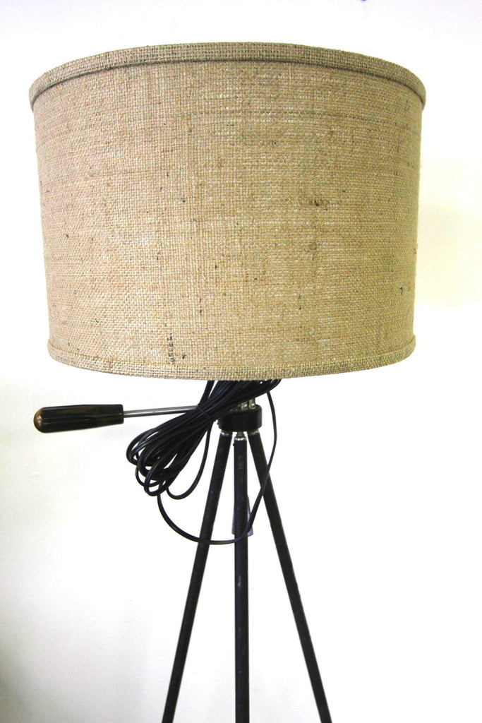 Telescoping Tripod Lamp With Burlap Shade