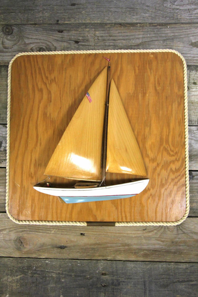 Wood Sailboat Folk Art 2
