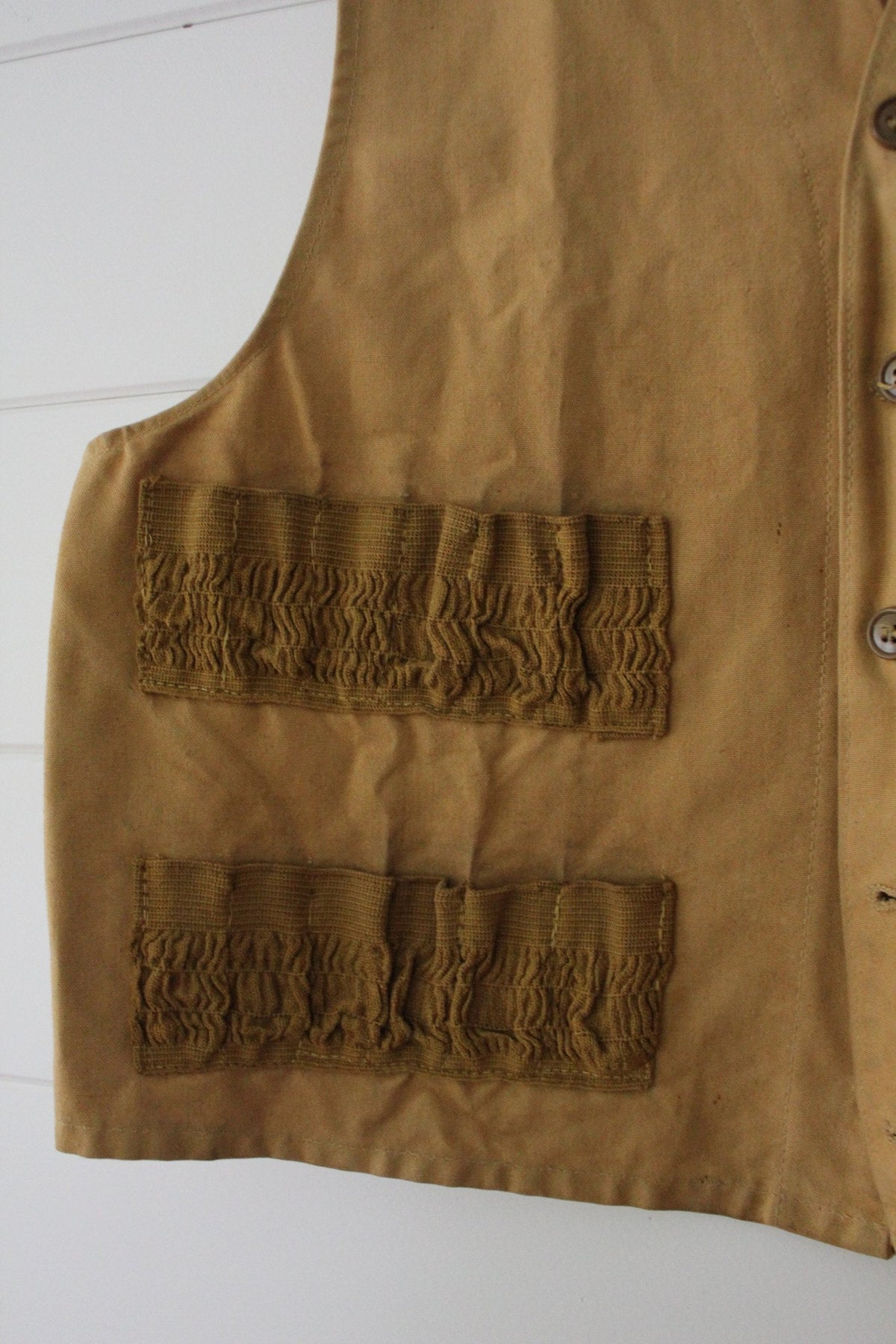 1940s Canvas Hunting Vest - Diamonds & Rust