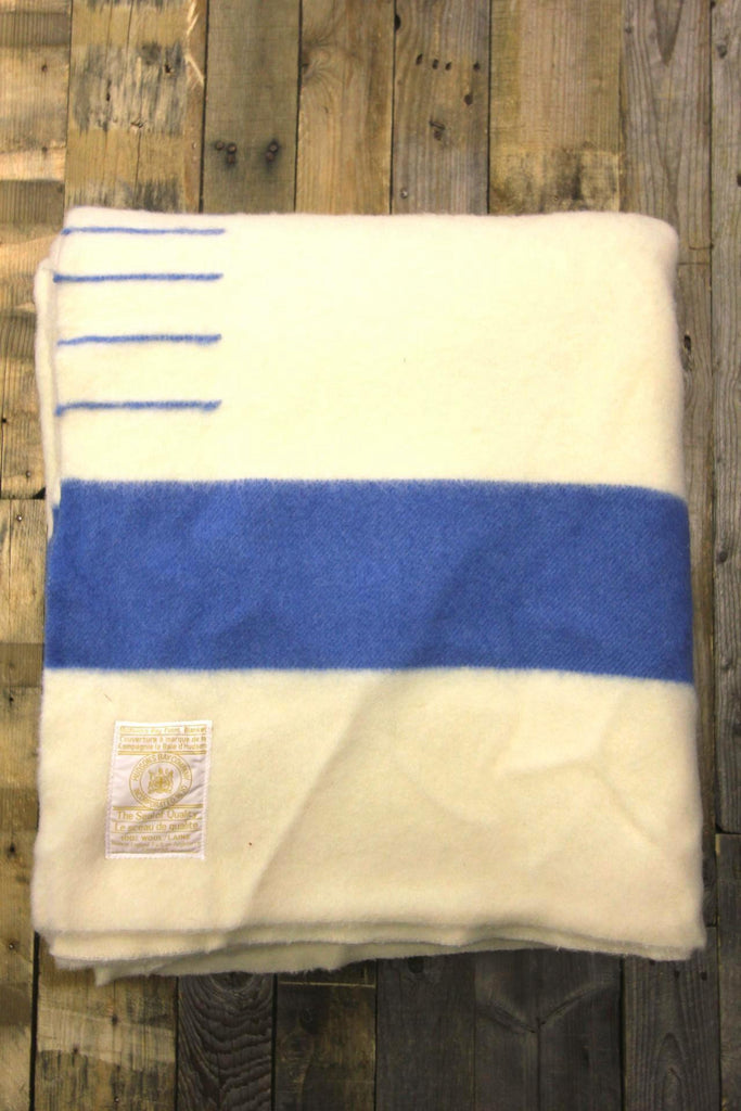 Hudson's Bay Wool Blanket Blue Stripe 6 Point