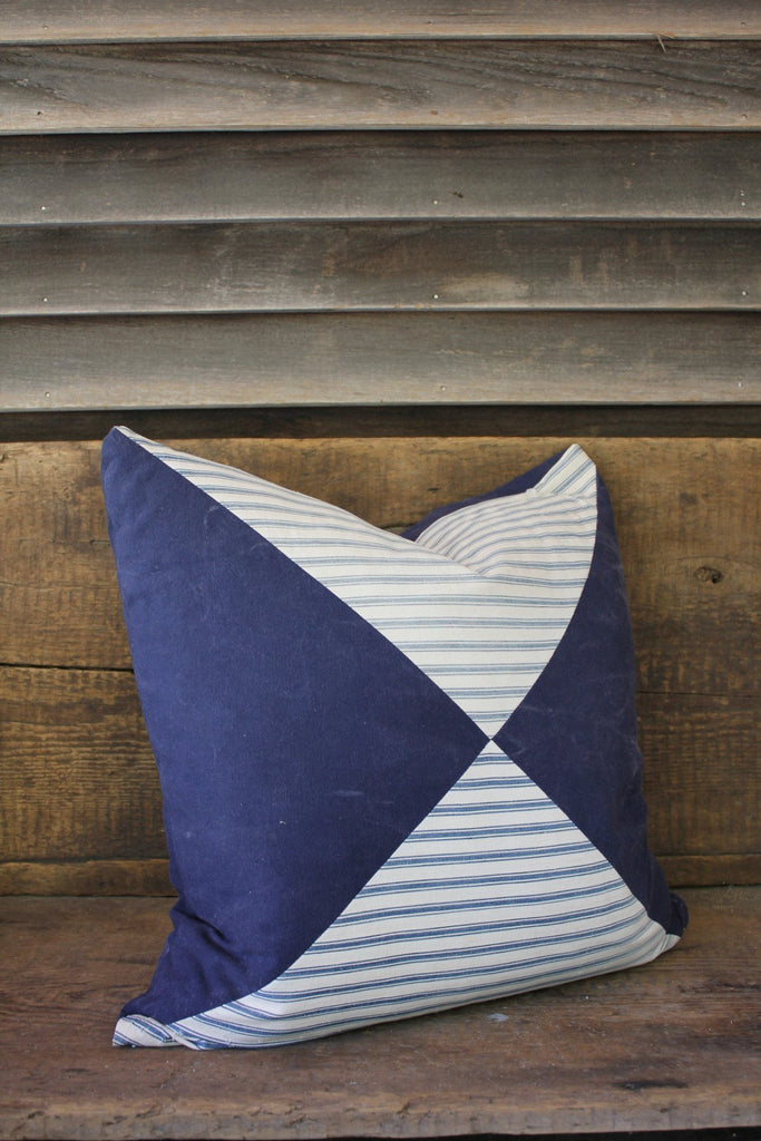 D&R Quilted Ticking & Canvas Pillow