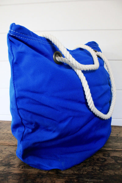 Marine Blue Canvas Tote - Diamonds & Rust